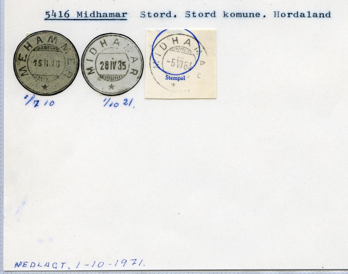 Stempelkatalog 5416 Midhamar, Stord kommune, Hordaland (Mehammer 1.7.10)