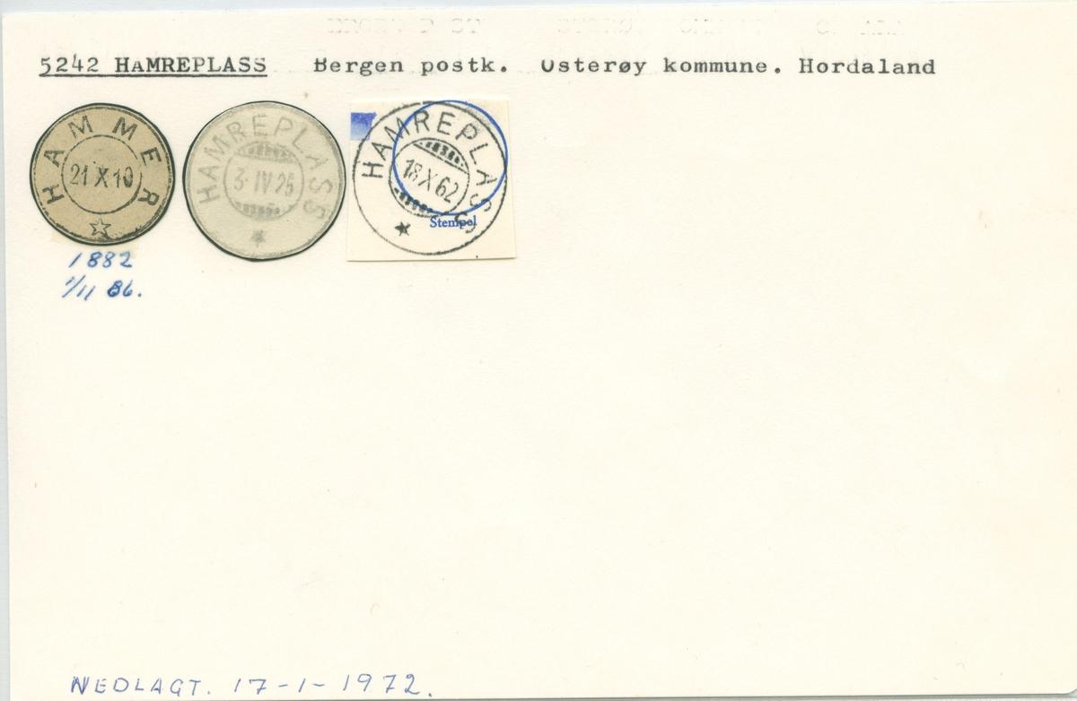Stempelkatalog. 5242 Hamreplass. Bergen postkontor. Osterøy kommune. Hordaland fylke.