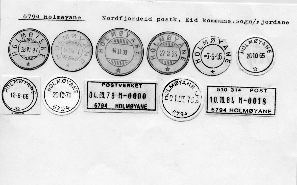 Stempelkatalog. 6794 Holmøyane. Nordfjordeid postkontor. Eid kommune. Sogn og Fjordane fylke.