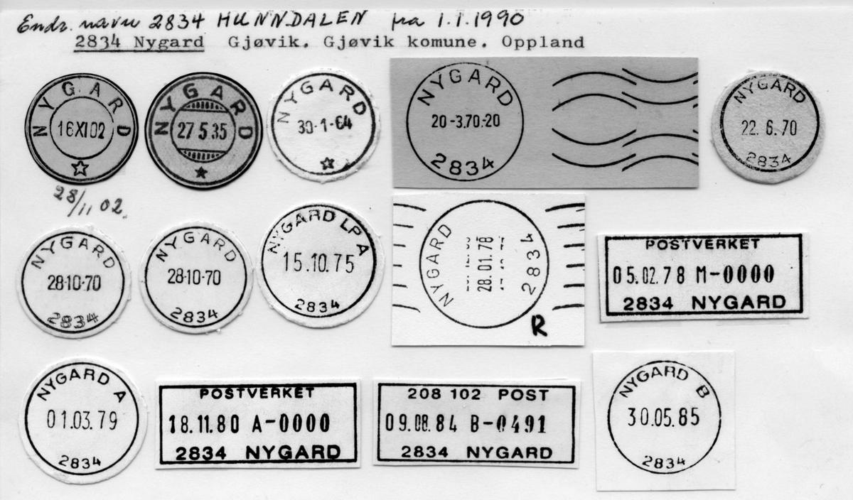 Stempelkatalog 2834 Hunndalen (Nygard), Gjøvik, Oppland