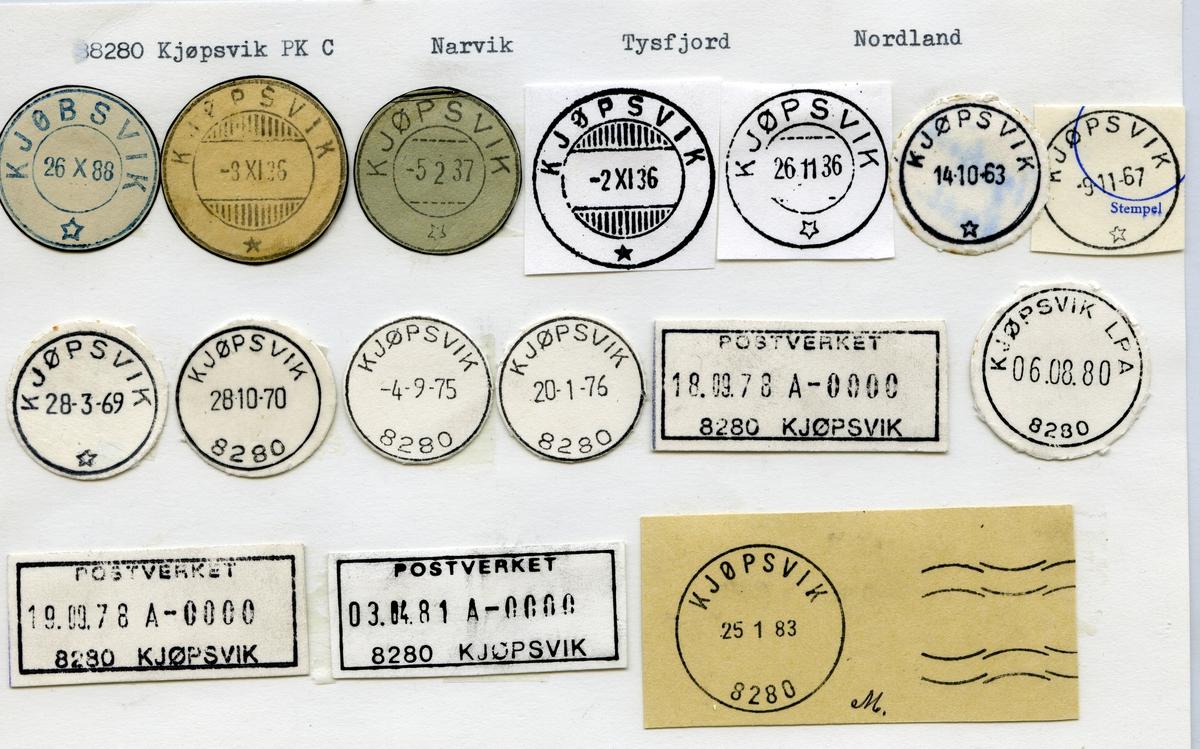 Stempelkatalog 8280 Kjøpsvik (Kjøbsvik), Narvik, Tysfjord, Nordland