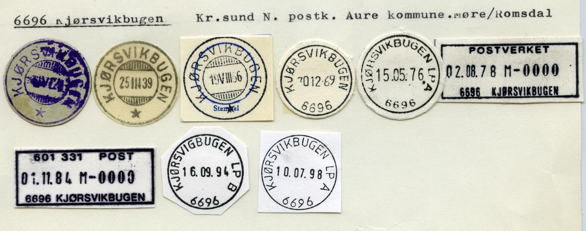 Stempelkatalog 6696 Kjørsvikbugen, Kr.sund, Aure kommune, Møre og Romsdal