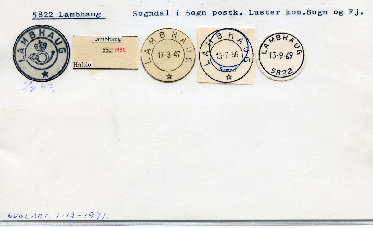 Stempelkatalog 5822 Lambhaug, Sogndal, Luster, Sogn og Fjordane