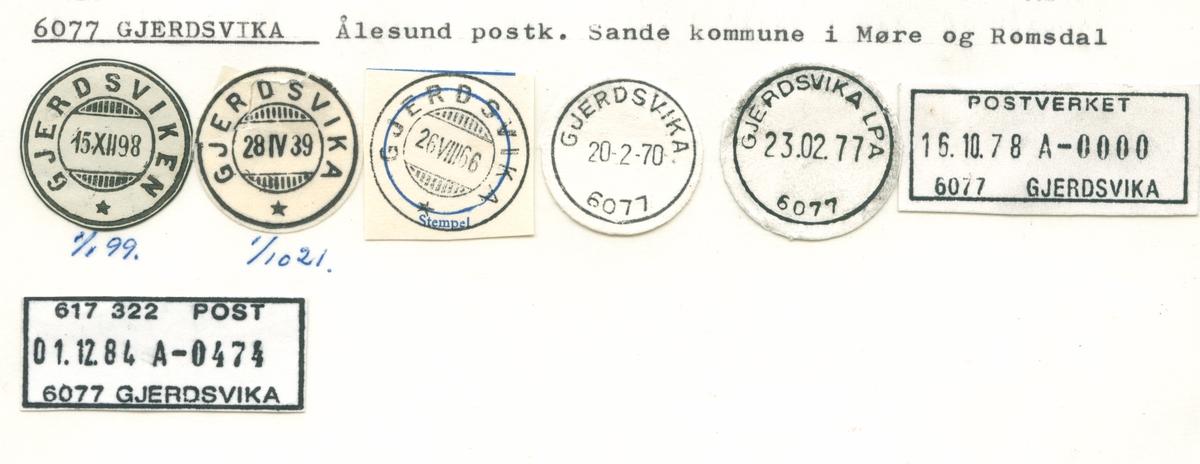 Stempelkatalog 6077 Gjerdsvika (Gjerdsviken), Ålesund, Sande, Møre og Romsdal