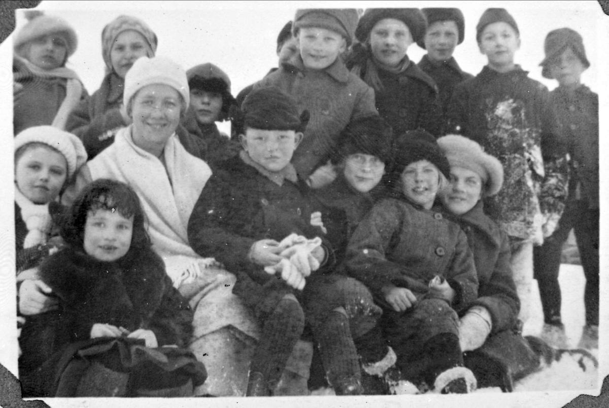 Barn, kvinne, skoleklasse, Gudrun Ørns private skole