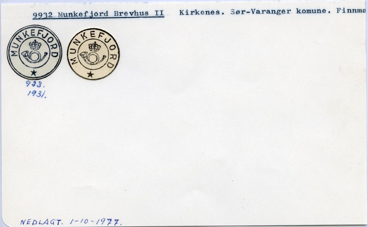 Stempelkatalog 9932 Munkefjord, Sør-Varanger kommune, Finnmark