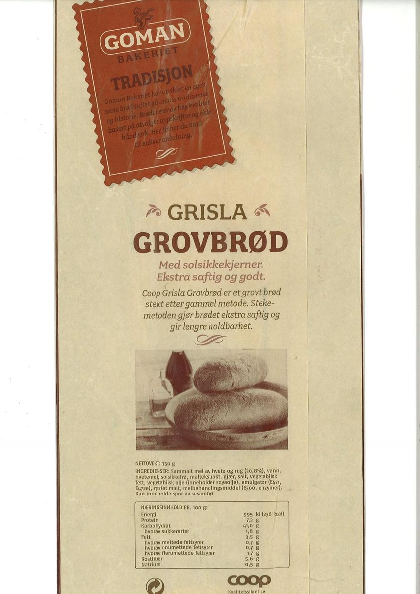 Forsiden: To brød plassert i et fat. Fotografiet er i bruntoner. Nøkkelhull ikon