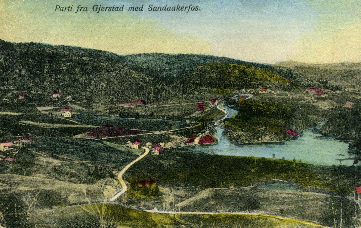 Håndcolorert oversiktsbilde med Sandskerfoss