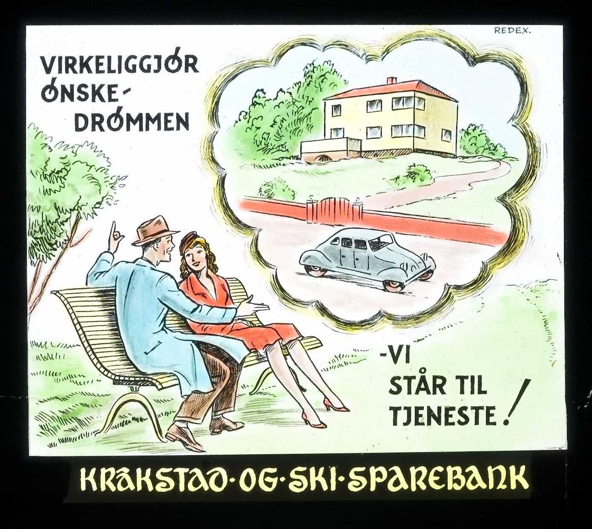 Kinoreklame fra Ski for Kråkstad og  Ski sparebank. Virkeliggjør ønskedrømmen - vi står til tjeneste!
