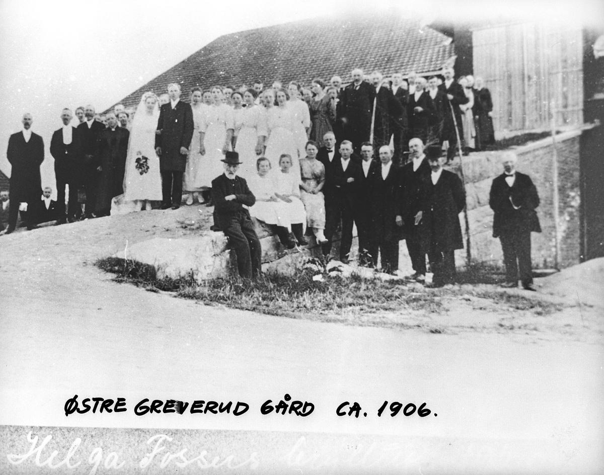 Bryllup på Østre Greverud gård, ca 1906.