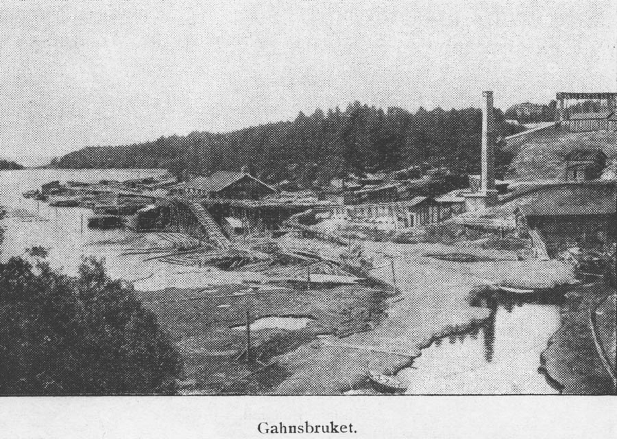 """""""Gansbruket"""" sett fra Østanes-åa"""
