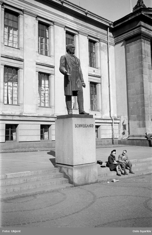 Julius Middelthuns bronsestatue (avduket 1883) av jusprofessor og politiker Anton Martin Schweigaard foran Midtbygningen (Domus Media) på Universitetsplassen.