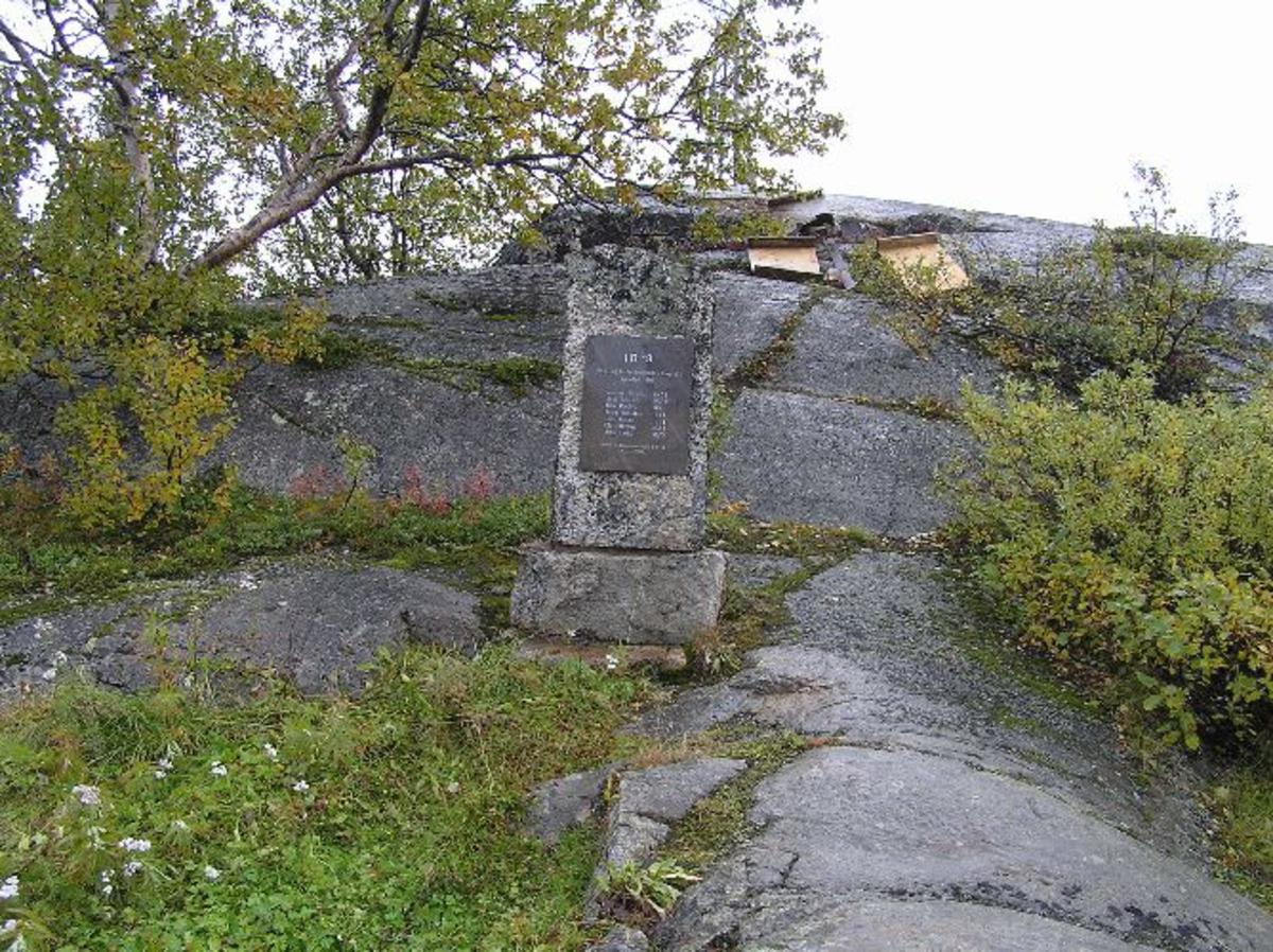 Trønderbataljonens administrasjonsoffiser Ole E. Noem, avduket minnebautaen 8. aug 1984 Kjøreanvisning: Minnebautaen ligger ved Bjørnefjell stasjon som er siste stasjon, på norsk side, før svenske grensen. Tar av på sidevei mot syd, på E10s høyeste punkt, ca 1 km før svenskegrensen.