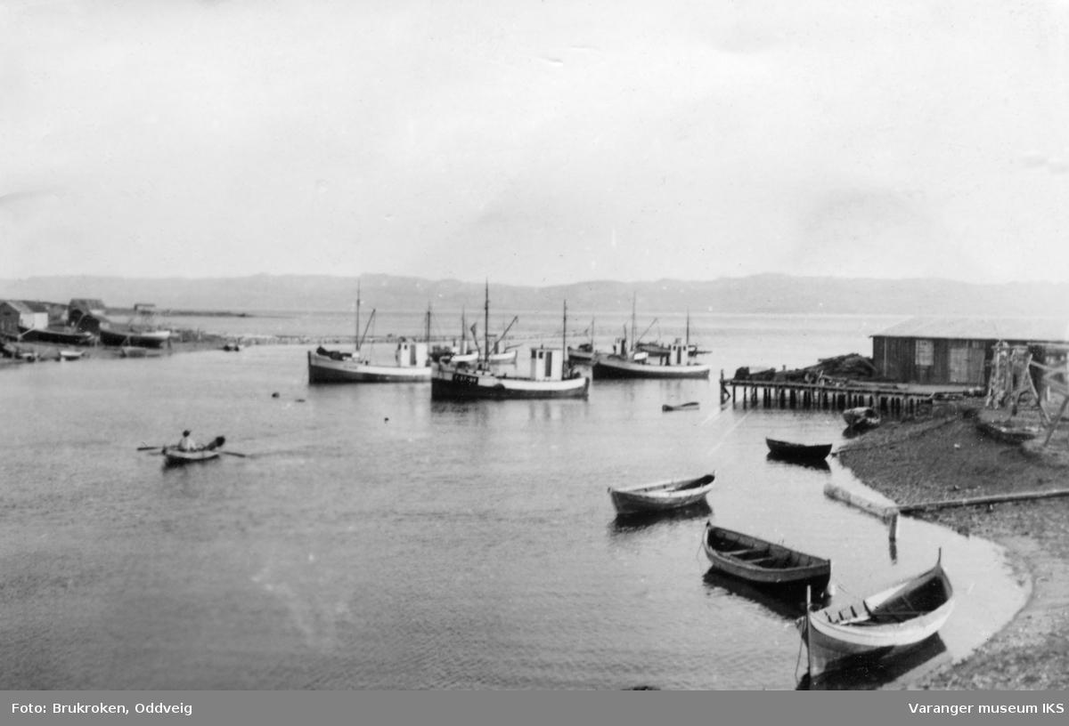 Vestre Jakobselv havn med 3 fiskebåter. Delfin F-27 NV i midten. Waldemar Harilas fiskebruk til høyre bak og Nordlandsbåt i høyre front.