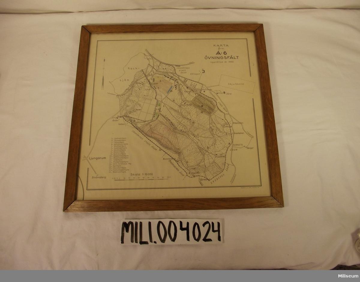 Tavla, karta över A 6 övningsfält upprättad år 1940, skala 1:10000