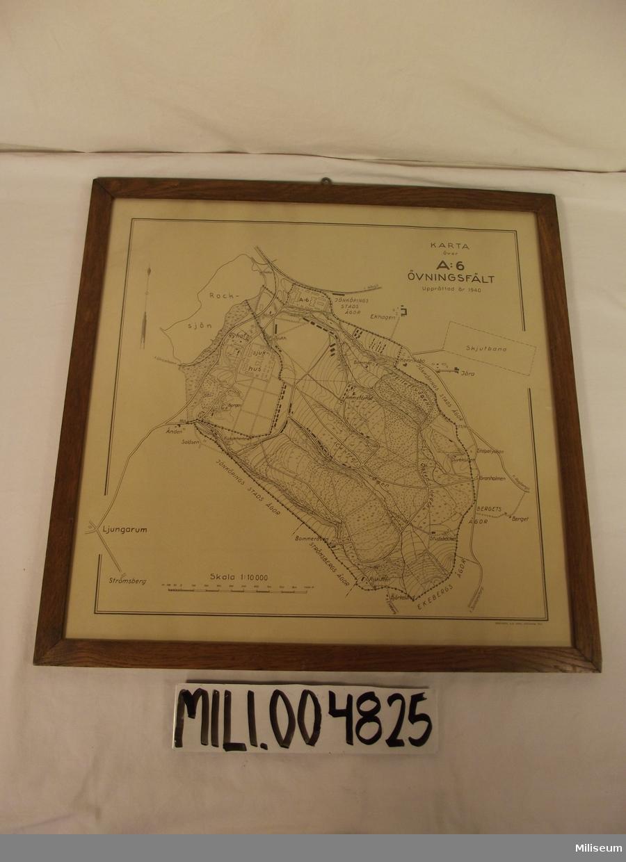 Karta: A 6 övningsfält 1940. Inramad. Karta över A 6 Övningsområde upprättad 1940. Skala 1:10000.