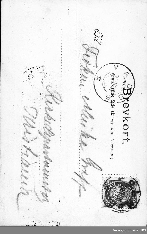 Postkort, postmann på ski med hund venter utenfor Amtmannsgården i Vadsø 1905.