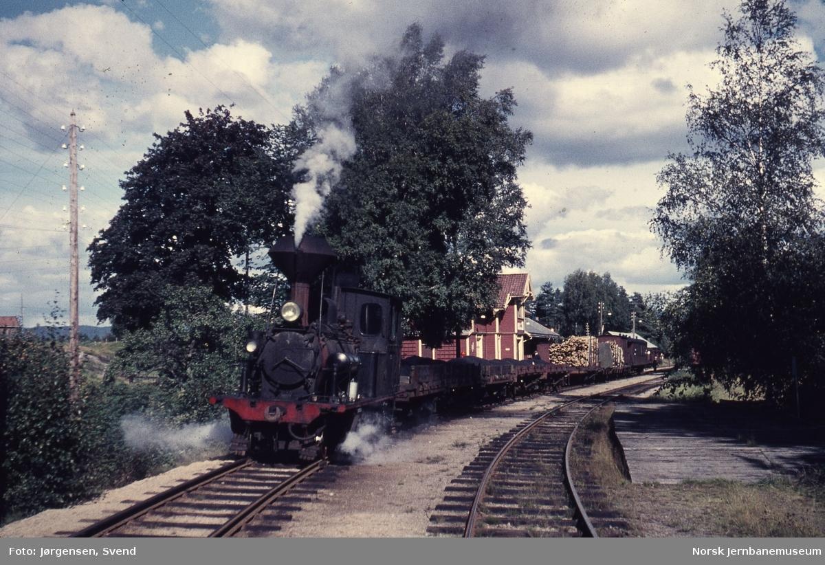 Damplokomotiv nr. 5 foran godstog 5662 på Hornnes stasjon