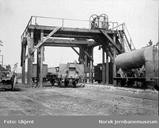 Tyskland : omlastingskran mellom normalspor og 750 mm-spor i Klotzsche på smalsporbanen Klotzsche-Königsbrück (åpnet 1884, omlagt til normalspor 1897)