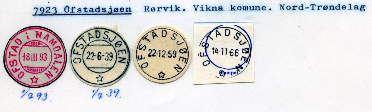 Stempelkatalog  7923 Ofstadsjøen, Vikna kommune, Nord-Trøndelag (Ofstad i Namdalen 1.7.1893)