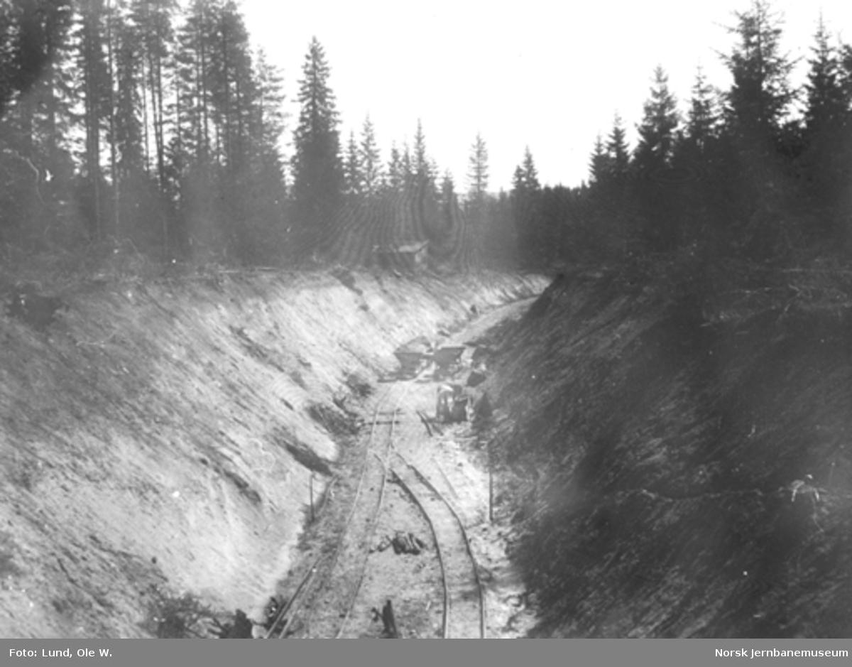 Fra anlegget av Holmestrand-Vittingfossbanen : trallespor og vagger i en av de store leirskjæringene mot Mosåsen