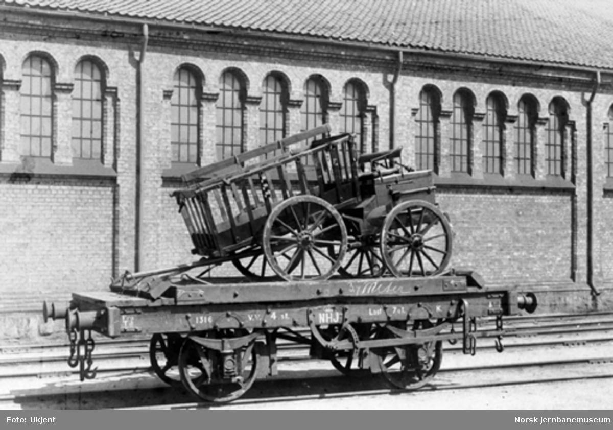 Hovedbanens vogn litra K nr. 1316 lastet med artillerimateriell; pakkvogner
