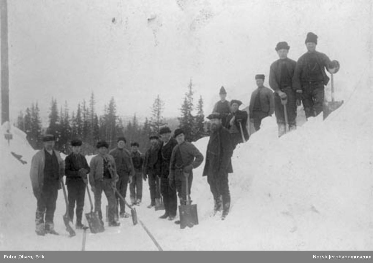 En gjeng snømåkere oppstilt for fotografering ved km 449 i Drøia, Haltdalen