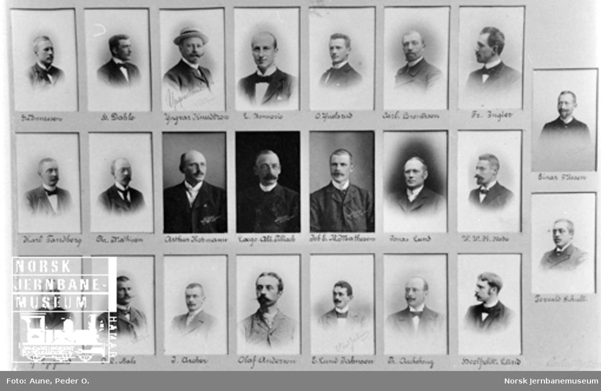 Montasje med bilder av ansatte fra anlegget av Hell-Sunnanbanen