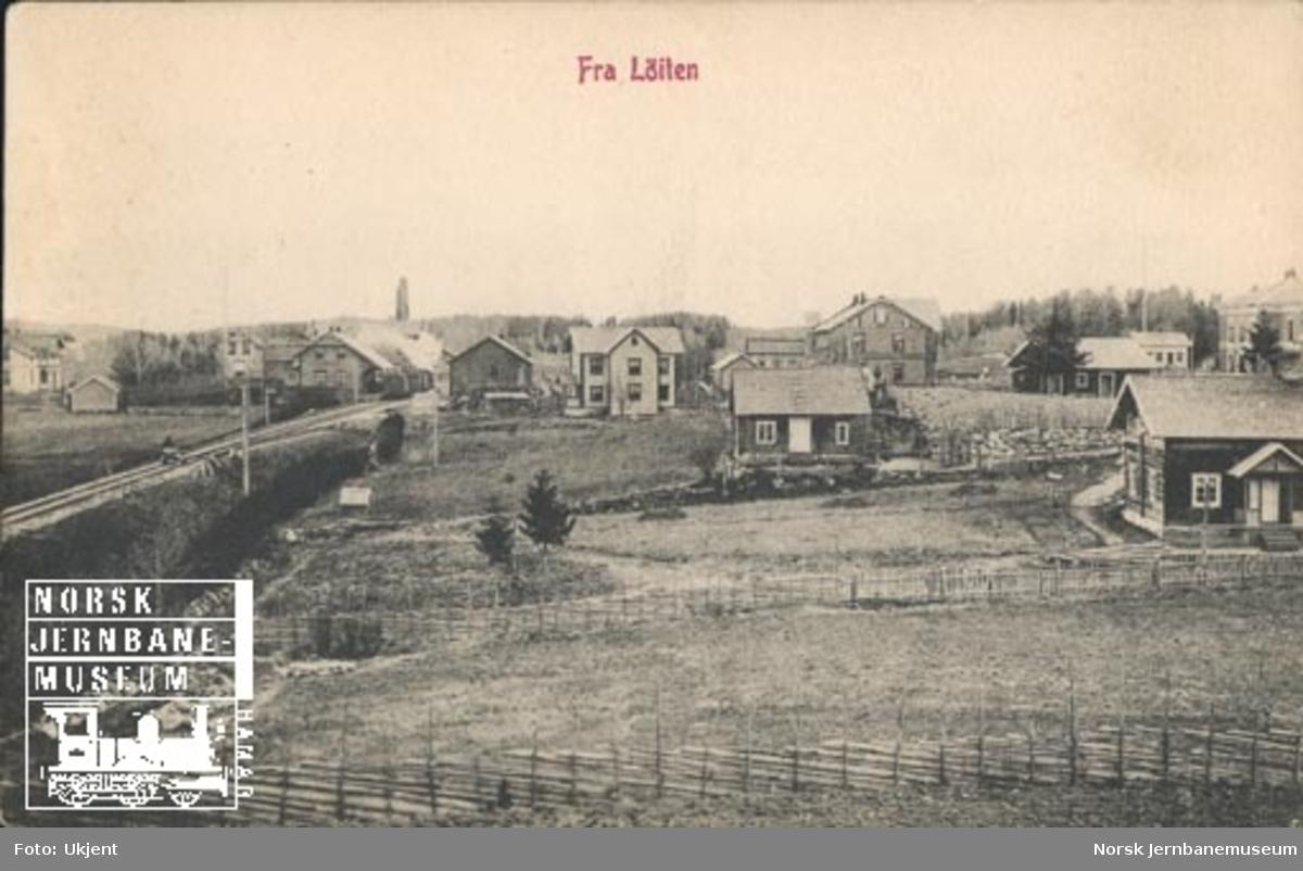 Oversiktsbilde fra Løten med stasjonen