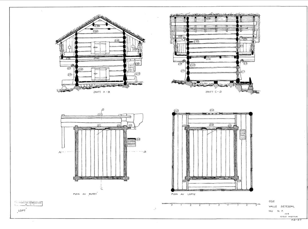 LOFT FRA OSE I BYGLAND, CA. 1700 Overført til museet 1912, gjenoppført 1913  Loftet fra Ose står ved siden av stua fra Kjelleberg, med gavlen frem mot tunet. Loftet er bygd av usedvanlig svært tømmer, og utmerker seg ved høy kvalitet i tømring og skurd. Loftet ble bygd av Knut Torjussen Helle fra Hylestad. Loft i Setesdal har som regel ikke hatt sval i tilknytning til første etasje. Det har heller ikke loftet fra Ose. Men som skikken tilsa, er det en lukket sval langs alle sider av andre etasje. Første etasje, kalt buret, ble brukt til oppbevaring av mat. I andre etasje ble gårdens beste klær og utstyr oppbevart. Om sommeren ble begge etasjer brukt som gjesterom og sovested.  (Tekst hentet fra By og bygd 43, 2010)  I følge Gisle Midttun er dekoren på svalen skåret av Knut Torjusson Helle fra Hylestad i begynnelsen av 1700-årene.