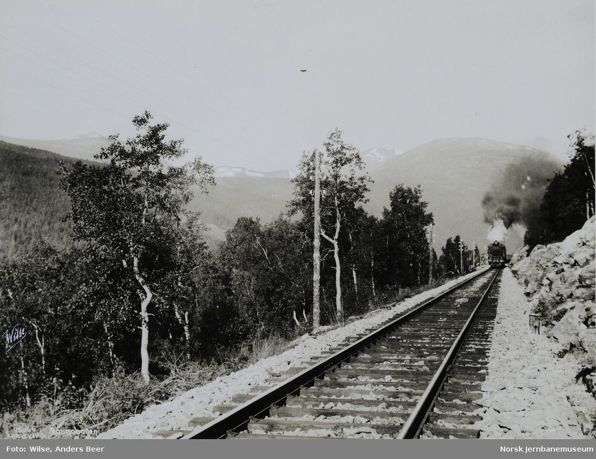 Sporet mellom vendetunnelen og Bjorli med oppadgående tog