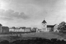 Stortorvet, Oslo 1800. Avfotografert tegning av Joh. William Edy. Domkirken, toget og bebyggelse.