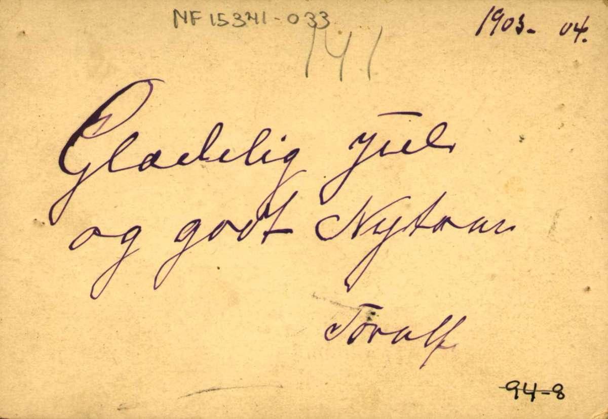 Postkort. Jule- og nyttårshilsen. Fotografisk motiv. Flørtende par i stueinteriør. Datert julen 1903.