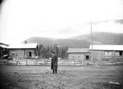 Kvisle, Numedal. Rollag, Buskerud, 1906. Mann står foran tøm