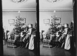 Julefeiring, familien Q. Wiborg i stue med juletre. Munkedam