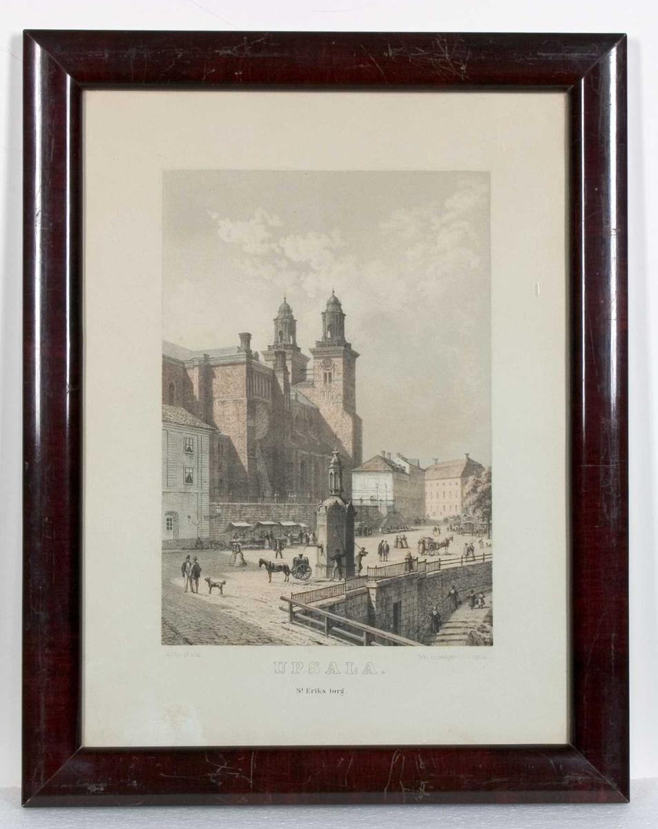 Litografin avbildar Uppsala domkyrka med de Hårlemanska huvarna. S:t Eriks torg i förgrunden.