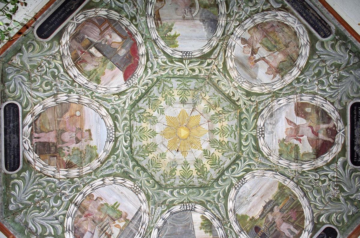 Takmålning i lusthus vid Ekholmens slott, Veckholms socken, Uppland 1994