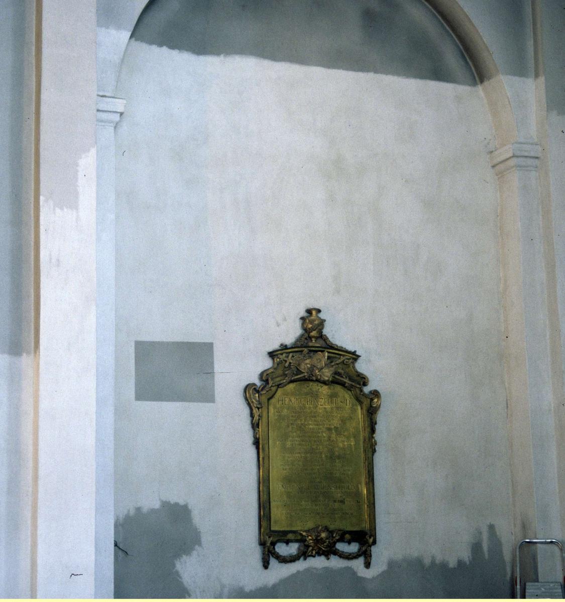 Rengjord vägg i Bälinge kyrka, Bälinge socken, Uppland 1989
