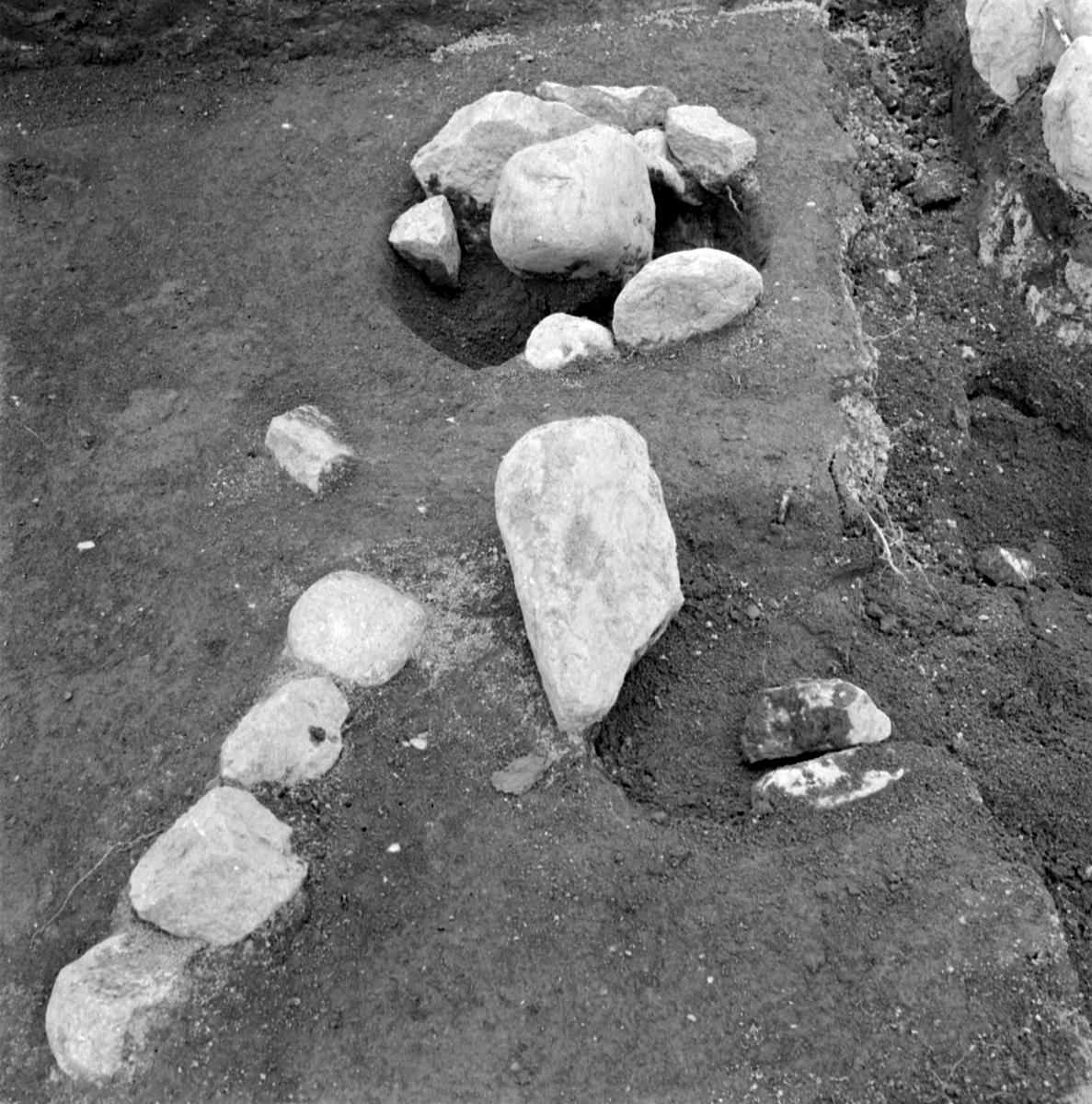 Prästgården, anläggning 14 stolphål - Arkeologi Gamla Uppsala 1973