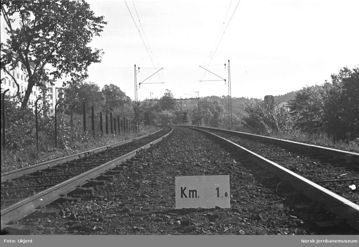 Hovedbanen : linjeføring km 1,6