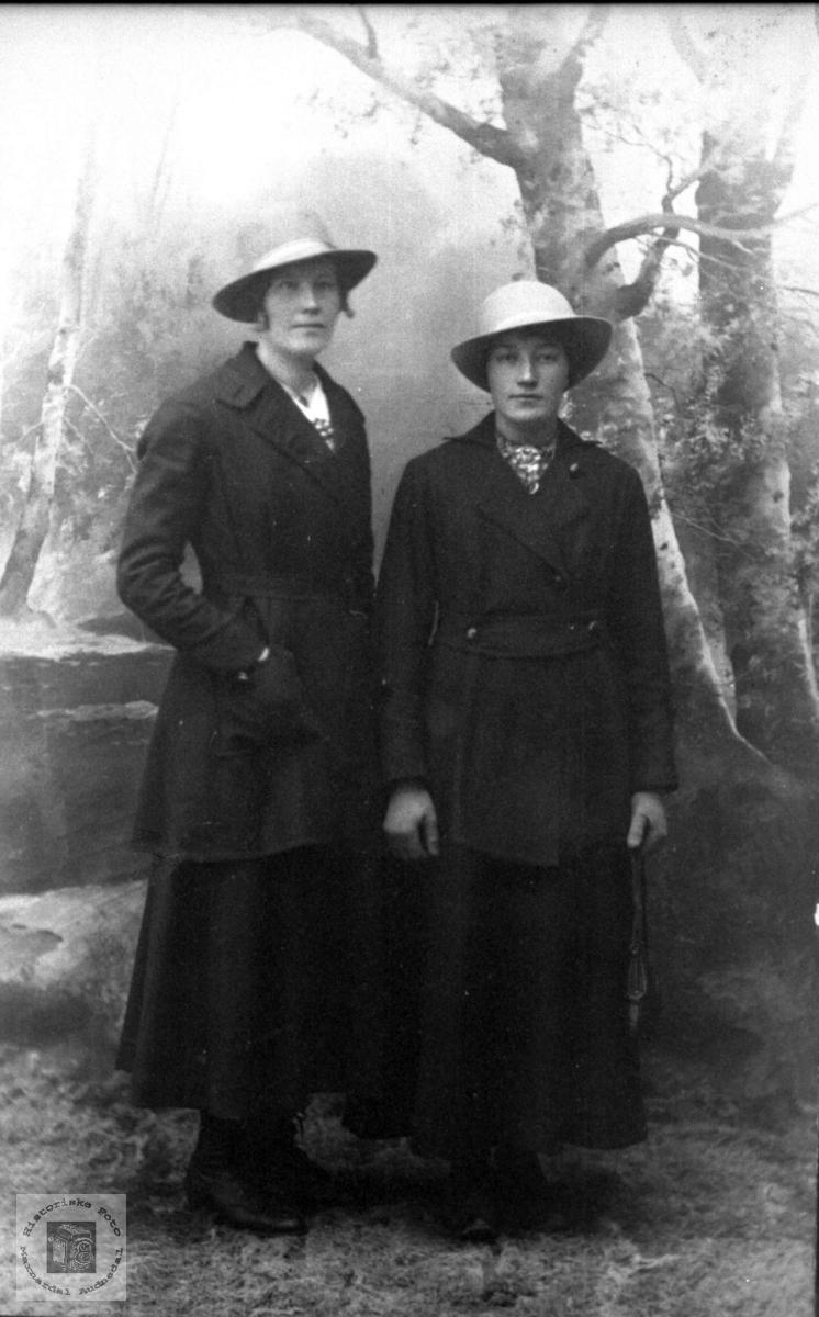 Portrett av Ingeborg Handeland og Marie Berntsen i finstasen.
