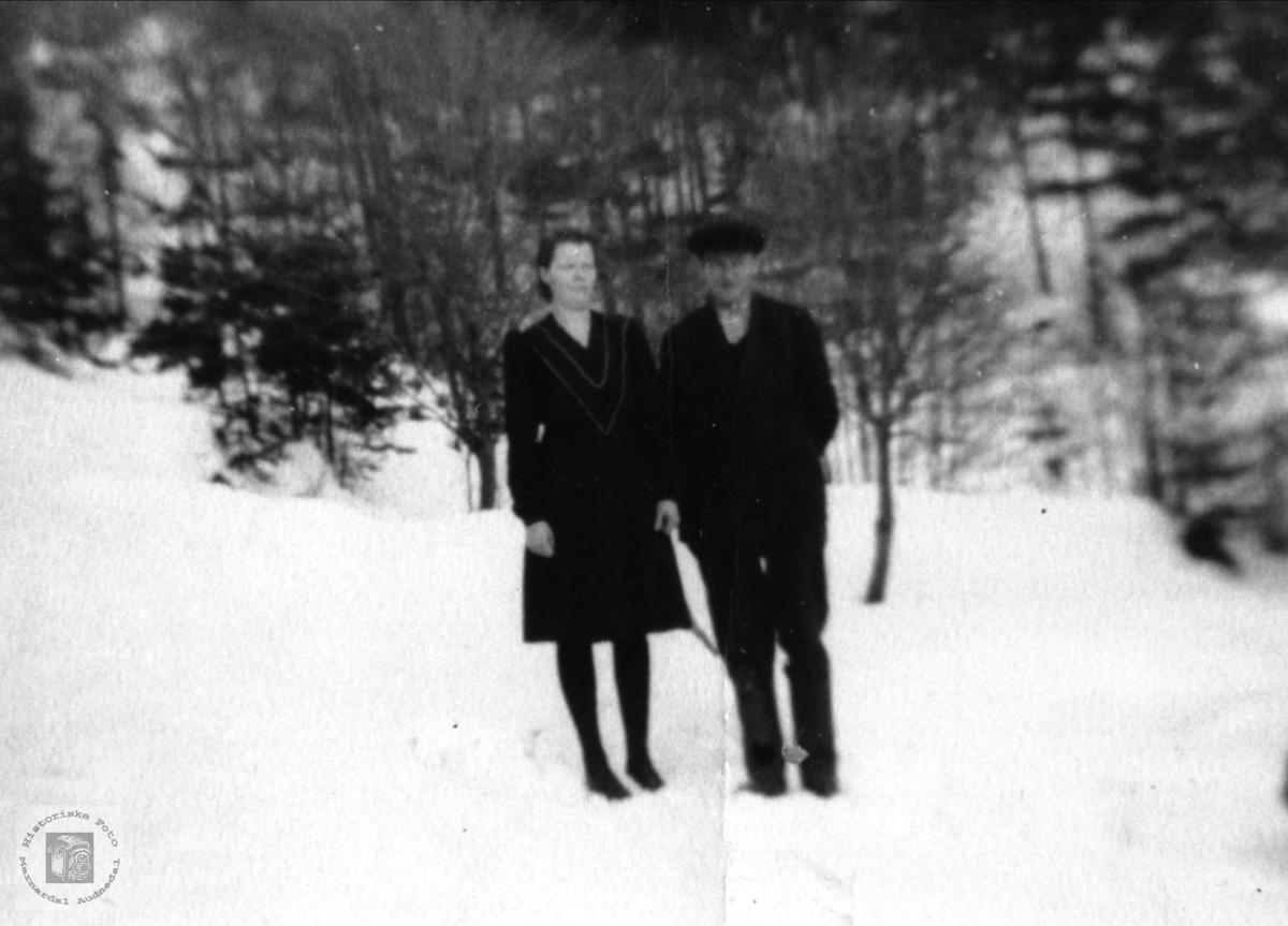 Portrett av ekteparet Randi og Peder Laudal, Øvre Laudal.
