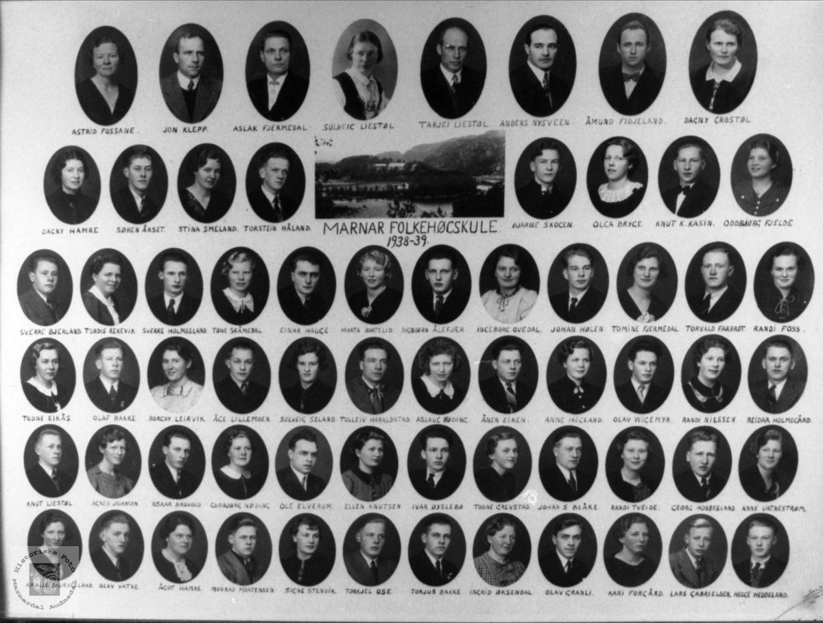 Marnar Folkehøgskole 1938-1939