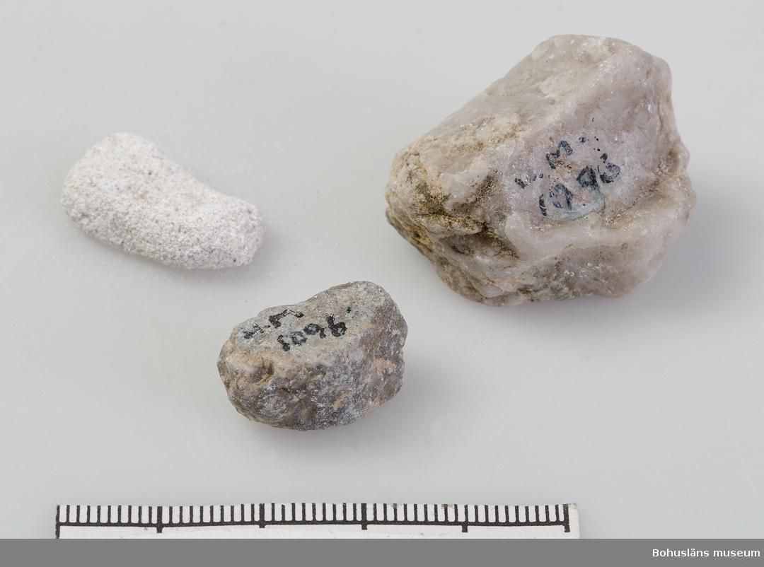 Ur handskrivna katalogen 1957-1958: Tre stenar fr. Kartago Tre mindre stenar av olika bergarter. Kartago  1  Lappkatalog: 100