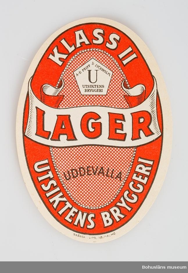 Etikett frö Lager, klass II, Utsiktens Bryggeri.