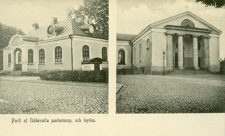 """Tryckt text på bilden: """"Parti af Uddevalla pastorsexp. och kyrkan""""   ::"""