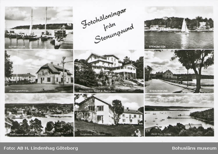 """Tryckt text på kortet: """"Fotohälsning från Stenungsund."""" ::"""