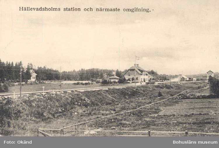 """Tryckt text på kortet: """"Hällevadsholms station och närmaste omgifning."""""""