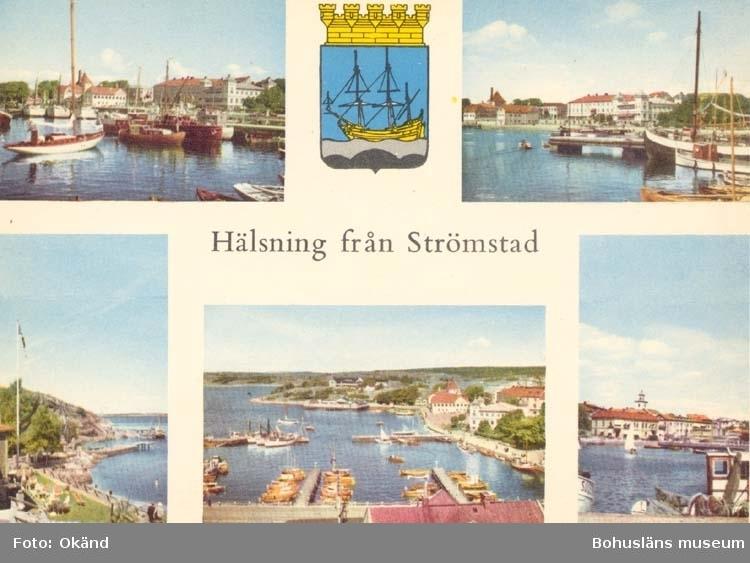 """Tryckt text på kortet: """"Hälsning från Strömstad."""""""