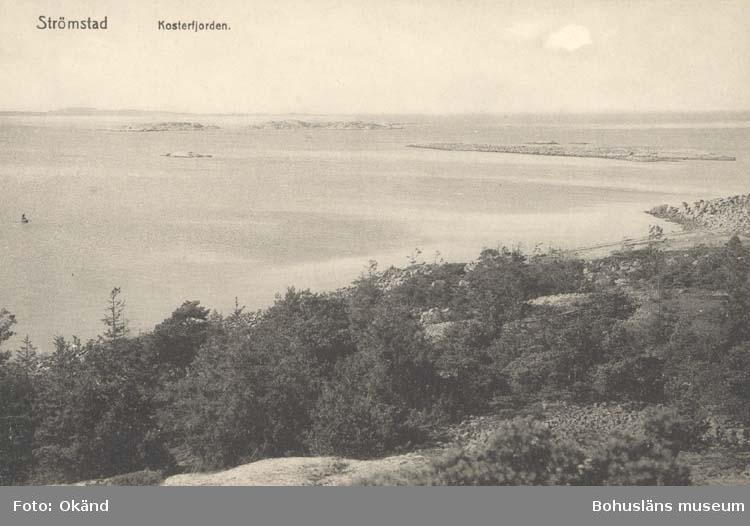 """Tryckt text på kortet: """"Strömstad. Kosterfjorden."""" ::"""